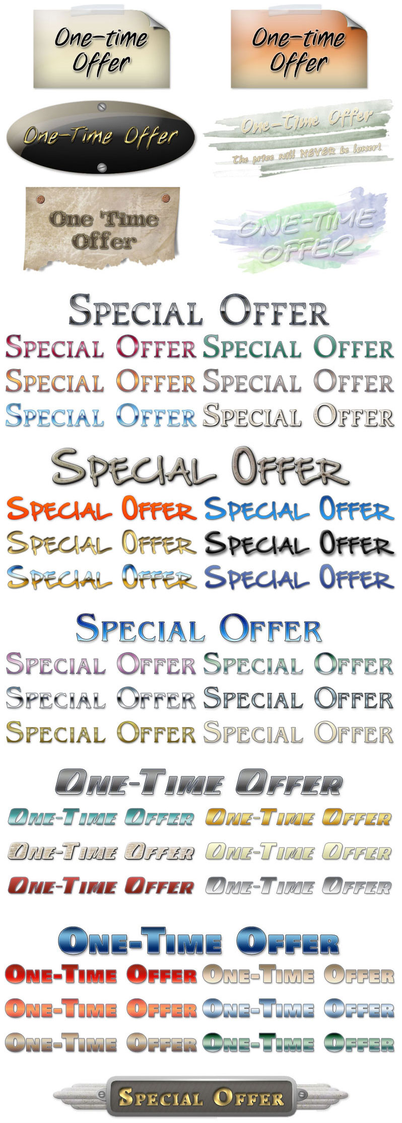 one-time offer and special offers graphic samples